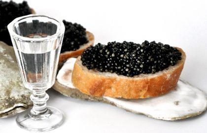 Звезды на карантине: рюмка водки на столе, черная икра и квашена капустка