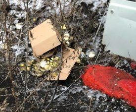 Контрабандисты сожгли автомобиль с красной и черной икрой на границе Украины и России